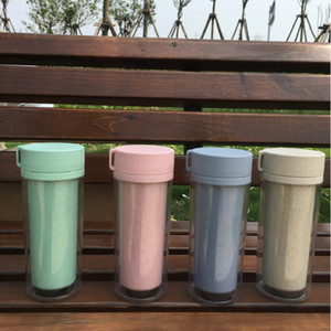Cheapest 4 Colors Promotional Gift 300ml 10oz BPA Free Double Wall Clear ECO Portable Wheat Straw Plastic Coffee Mug With Handle