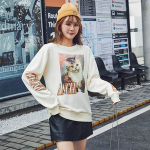 Fine cotton cat sweater women Korean style loose long sleeves 2020 spring new women's clothing cute and fresh women's tops