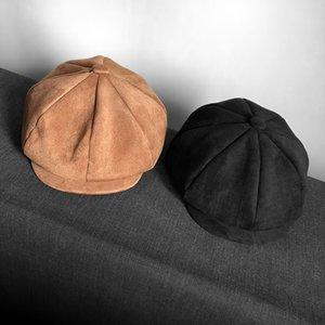 Grado superiore Suede Retro dello strillone Caps Mens testa oversize circonferenza piatto Caps donne inglesi Gatsby Cap autunno cappello di inverno BLM223 201026