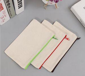 21x9cm DIY White canvas blank plain zipper Pencil pen bags stationery cases clutch organizer bag Gift storage pouch