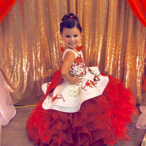 Red Toddler Pageant Party Dresses Spaghetti Strap Appliques Ruffle Tiered Flower Girls Dresses Customized Kids Prom Gowns