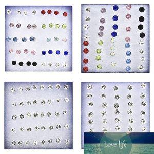 1Set 4mm 5mm Round Clear Crystal Rhinestone Magnet Stud Earring Women Mens Magnetic Fake Ear Plug Earring Body Jewelry