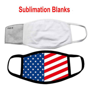 IN STOCK Blanks Sublimation Face Mask Adults Kids With Filter Pocket Can Put PM2.5 Gasket Dust Prevention For DIY Transfer Print FY0086