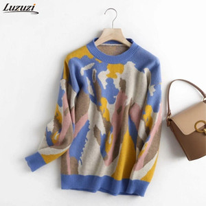 Luzuzi Women Elegant Pating Pattern Knitted Sweater Jumper O Neck Female Oversize Pullovers Chic Oil Painting Tops