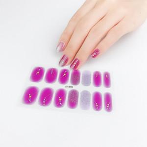 14pcs sheet Glitter Nail Stickers Wraps Full Cover Nail Polish Sticker DIY Self-Adhesive Nail Art Decoration