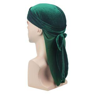 Unisex Velvet Silky Durags Bandanas Turban Cap Women Men Satin Wigs Doo Biker Headwear Long Tail Headwrap Du-rag Hair Accessor jlltYD