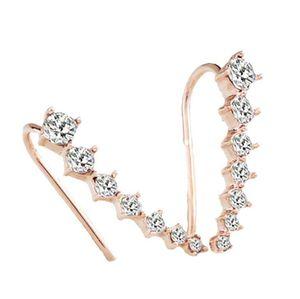 CZ Diamond Clip Cuff Earrings Silver Gold Plated Dipper Hook Stud Earrings Jewelry for Women Earring ZL ps1547