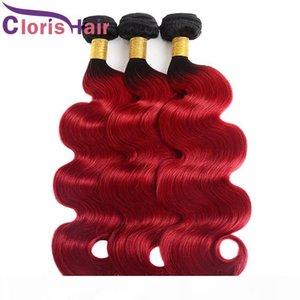 Dark Roots Roots Coiffure de Corps Rouge Cheveux Tissu Raw Vierge Indien Human Hair Bundles 3PCS Deux tons 1B 1B Rouge Wavy Ombre Extensions de cheveux