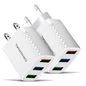 2.4A 3 Ports Eu US Ac Home Travel Wall Charger Adapter Plugs For Iphone 11 12 Samsung Android phone mp3