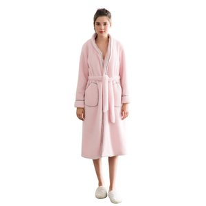 Grlbobra Women Long Robe Sleepwear Brief Sweet Solid Color Long Sleeve Pocketed Thicken Robe Pajama warm lamb cashmere Robes