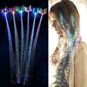 Flash LED Luz de pelo emitiendo fibra óptica Pigtail trenzado Plait Mariposa Luminosa Peluca de cabello KTV Party Party Supplies Pelo Accesorio Tocado