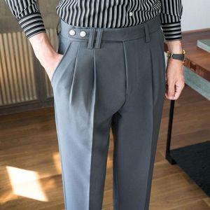 Autumn Solid Color Pant High Quality Men Dress Pant British Style Slim Fit Suit Formal Wear Business Office Trousers Men
