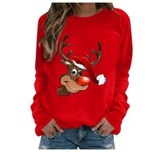 Плюс размер Chirstmas Кофты для женщин S-3XL печати с длинными рукавами Мода Big Толстовка Повседневный пуловер