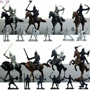 / Ensemble de chevaliers médiévaux guerriers Chevaux enfants jouet jouet statique modèle de jeu jouant sur des châteaux de sable (20 soldats + 8 chevaux) LJ200924