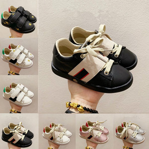 2021 Bambini scarpe casual scarpe a basso piatto in pelle opaca da scarpe da ginnastica Ace Bee Shoe Snake Heart Cuore Chaussures formatori Green Red Stripes Ricamo