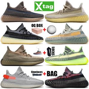 2021 Top Kanye West V2 Mens Donne da donna Scarpe da corsa Natural Fade Carbon Cinder Linen Yecheil Nero Statico Sneakers Riflettente Riflettente 36-48
