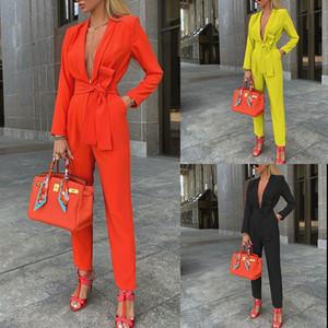 JYS5G Otoño 2020 Pantalones de otoño NV SHI KU Moda sexy de mujer Vendaje de color sólido Profundo V Jumpsuit FD002