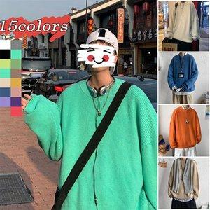 Мужские свитера PR сгущение 15 цветов сплошной цветовой свитер со свитер 2021 зимняя корейская уличная одежда пуловеры повседневные