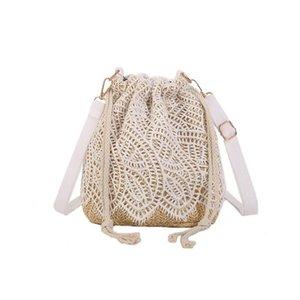 E+ Bags Beach Straw Girl Mini Bag Lady Lace Rattan Knitted Flower 2021 Summer Sling Woven Oiwdf Women Style Shoulder Bucket Handbag Ckihp