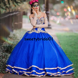 Royal Blue Sweet 15 Birthday Party Dress Applique Corset Ball Gown Prom Dress Detachable Sleeve Quinceanera Vestidos De XV Anos