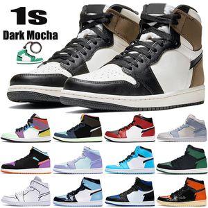 2021 Nova escuras Mocha 1 1s Jumpman tênis de basquete Mid Chicago toe luz fumaça cinza Tokyo Bio Corte de Patentes UNC homens as sapatilhas das mulheres