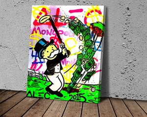 Alec Monopoly Playing Golf Canvas Art Posters and Prints Kitchen Theme Canvas Paintings on The Wall Art Pictures Décor