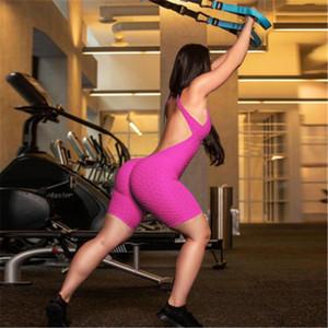 Kadın Kolsuz Bodysuit Tulum Şort tulum Tek Parça Pantolon Seksi Backless tulumları Spor Salonu Yoga Spor Moda Giyim F92804