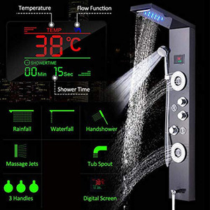 Luxury Black Brushed Bathroom LED Shower Panel Tower System Wall Mounted Mixer Tap Hand Shower SPA Massage Temperature Screen 1011
