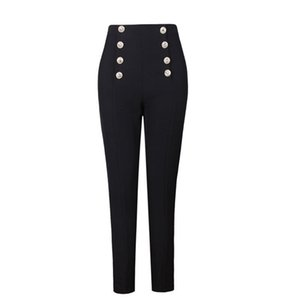 Hot Selling Popular Style Elegant Women Solid Color Black & White Buttons Slim Penci Pants All-match Ankle-Length Capris 201007