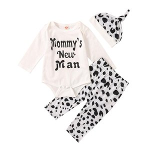Baby Boy Clothing Sets Letter Print Crew Neck Long Sleeve Romper Pants Trousers Hat 0-18M Newborn Infant Toddler Fall Outfit