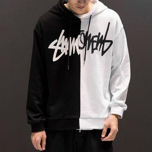 Avril MOMO Hip-hop Noir Blanc Splice Sweats à capuche oversize style Swag Tyga à capuche Automne Hiver chaud épais Sweats à capuche Taille XS-XL 201019
