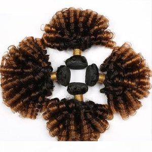 탄력 곱슬 머리 번들 3 4pcs 1b 4 30 ombre 색상 인간의 머리카락 확장 곱슬 머리 짜다 번들