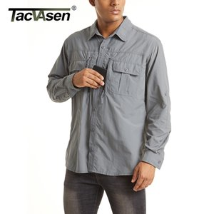 TACVASEN Summer Tactical Shirts Men's Mesh Breathable Long Sleeve Multi-Pockets Work Cargo Shirts Quick Dry Military Army Shirts 201022