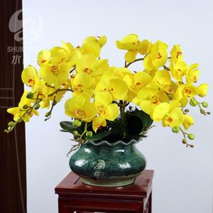 Handmade Home Decor Wedding Hotel Restaurant Artificial Flowers Sets, Hand feeling Big Butterfly Orchid With Ceramics Vase