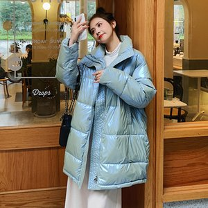 Hot Sale 2020 Winter Women Long Jacket Shiny Thick Oversized Female Cold Coat Stand Collar Solid Loose Cotton Padded Casual Parkas Woman