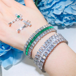 Sparkling New Arrival Top Sell Luxury Jewelry 925 Sterling Silver Emerald CZ Diamond 3 Rows Gemstones Women Wedding Bracelet For Lover Gift