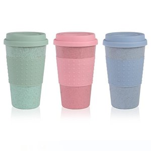 Fashion Silicone Coffee Mug with Lid Eco-friendly Wheat Straw Drink Tea Cup Creative Coffee Cup Travel Mug Pink Blue Tea Mug VT0370