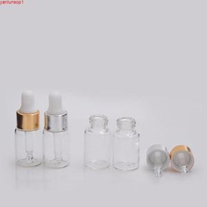 5 ml Botella de aceite esencial Botella de vidrio Negro blanco Plata Cubierta de aluminio Dropper / Essence Botellas vacíasHipping