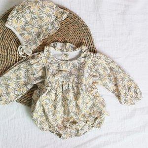 Facejoyous 0-24M Autumn Cotton Kleinkind Kind-Baby-Body-Blumendruck Rüschen Langarm-Overall mit Hut 2pcs 1024