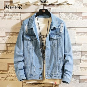 Dimusi Men's Denim Jackets Fashion Masculino Trendy Romed Denim Bomber Abrigos Hombres Outwear Ropa Cowboy Jean Chaquetas Ropa