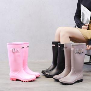 Yeeloca Moda Rainboots Mujeres Rodilla-High Botas de agua Hebilla Largo TUBO Zapatos a prueba de agua de alta calidad para mujer PVC de goma Botas de lluvia C1023