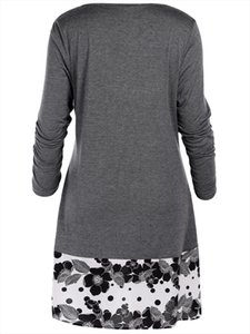 Plus Size 5XL Draped Floral Long Tunic Shirts Long Sleeve O Neck Buttons Embellished Women Tshirt Casual Autumn Tops Tee