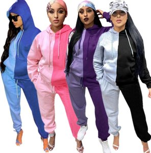 Women Jogger Suit Panelled Tracksuits Casual 2 Piece Set Outfits Fall Winter Sweatsuits Long Sleeve Clothing Hoodies Pants Sportswear 42252