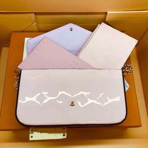 diseño de lujo del bolso del diseñador del bolso Felice cartera de cuero brillante con cremallera bolsa de hombro de la señora bolso del diseñador bolsa de mensajero