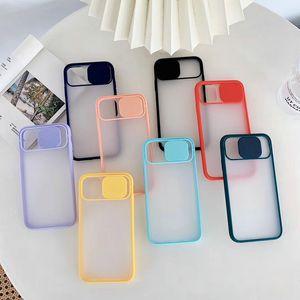 Caméra Slide Protection Lens Case pour iPhone 11 pro xs max 7 8 Plus Phone Case Matte Protect transparent clair antichocs Cover
