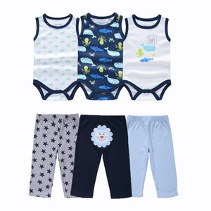 6 pcs lot New Born Boy Baby Cotton Bodysuit with Pants 100% Cotton Baby Clothing Sets Y1113