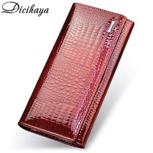 DICIHAYA Genuine Leather Women's Wallets Fallow Long Ladies Double Zipper Wallet Clutch Bag Design Red Purse Crocodile Purses Q1105