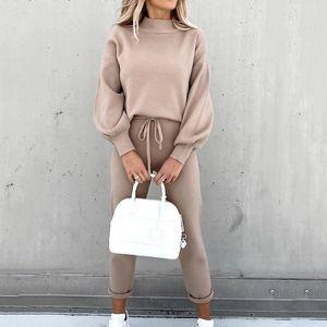 YICIYA Zweiteiler Anzug Herbst-Winter-Fest Hoodie Taschen Lange Hosen Sweatwear Sportwear Anzug Jogginganzüge für Frauen