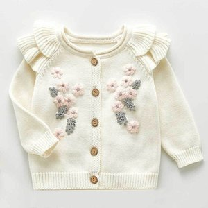 New Spring Autumn Infant Baby Girls Knit Long Sleeve Flower Coat + Braces Rompers Clothing Sets Kids Girl Suit Clothes 0-3Yrs 201201