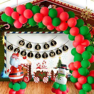 Christmas Balloon Set 10inch Red Green Xmas Latex Balloon Cartoon Santa Claus Snowman Aluminum Foil Balloon Helium Balloons